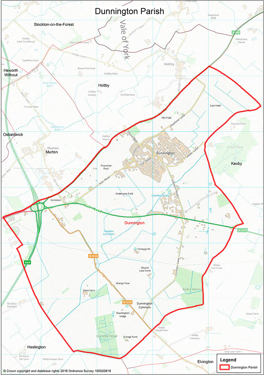Map of Dunnington Parish Boundary
