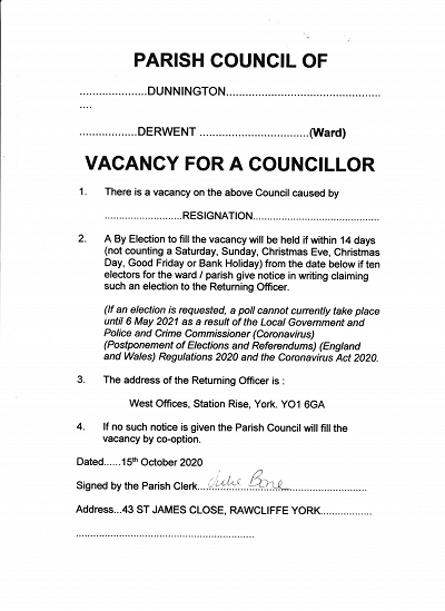 Dunnington Parish Council Vacancy Notice.