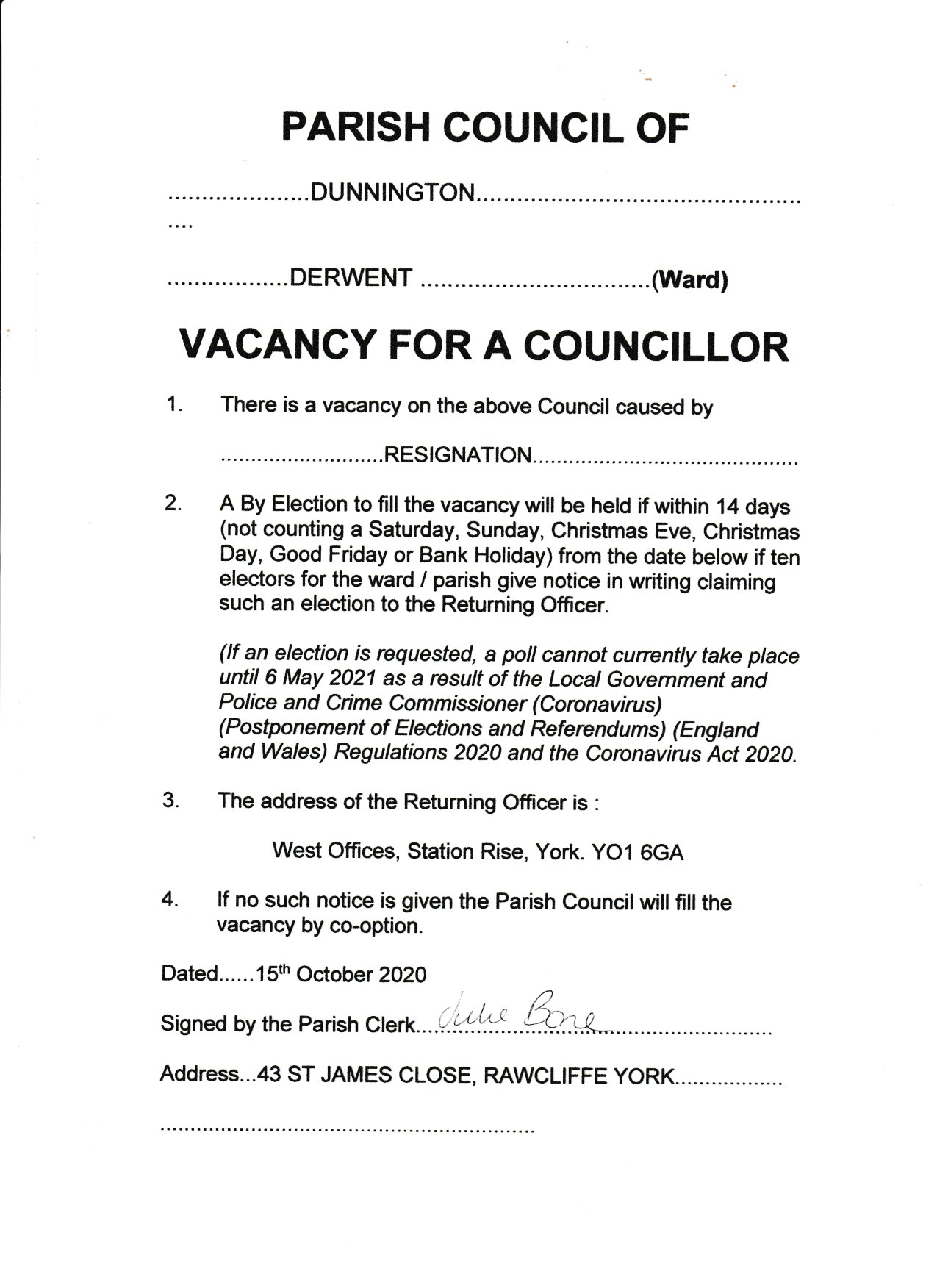 Dunnington Parish Council   Vacancy Notice 15 10 20