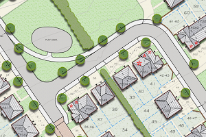 Close up of the planned development.